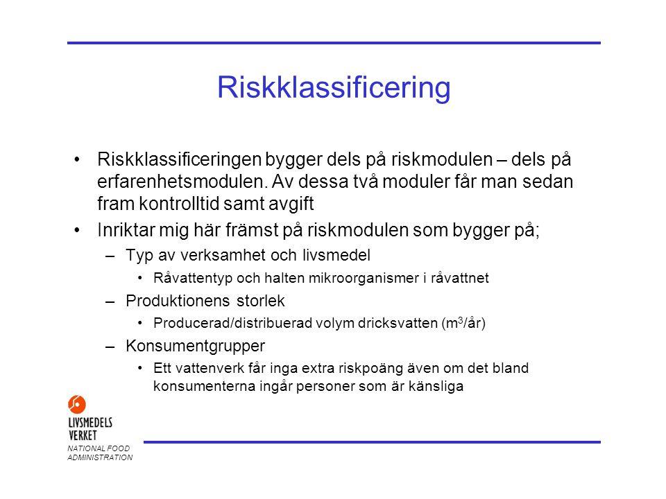 NATIONAL FOOD ADMINISTRATION Riskklassificering •Riskklassificeringen bygger dels på riskmodulen – dels på erfarenhetsmodulen. Av dessa två moduler få