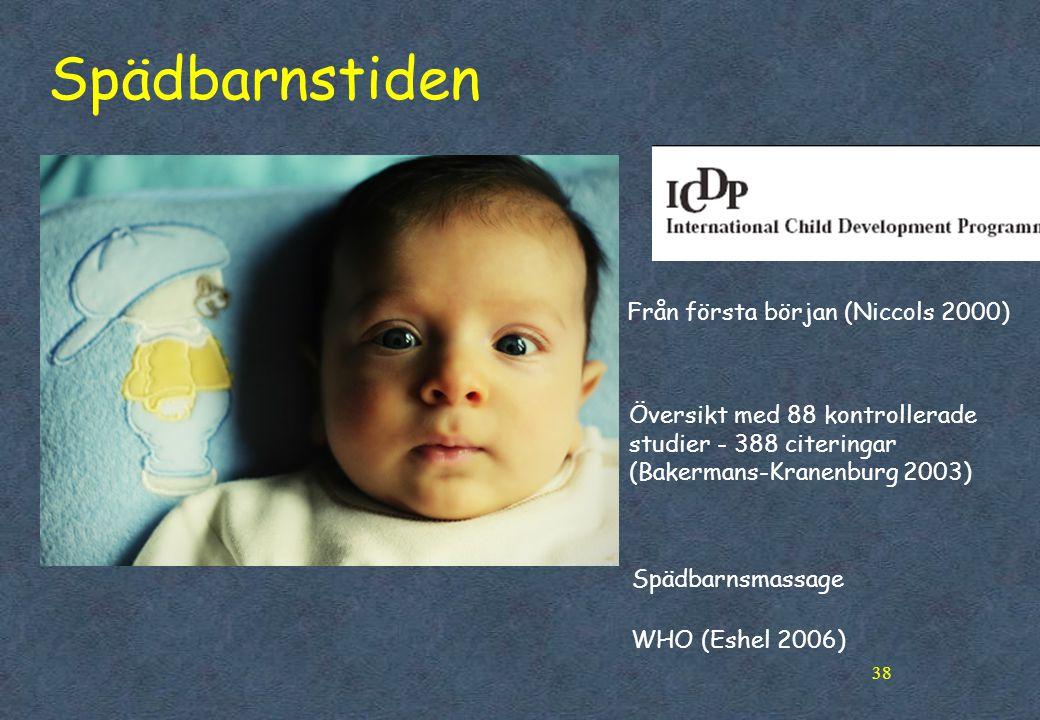 38 Spädbarnstiden Översikt med 88 kontrollerade studier - 388 citeringar (Bakermans-Kranenburg 2003) Från första början (Niccols 2000) Spädbarnsmassage WHO (Eshel 2006)