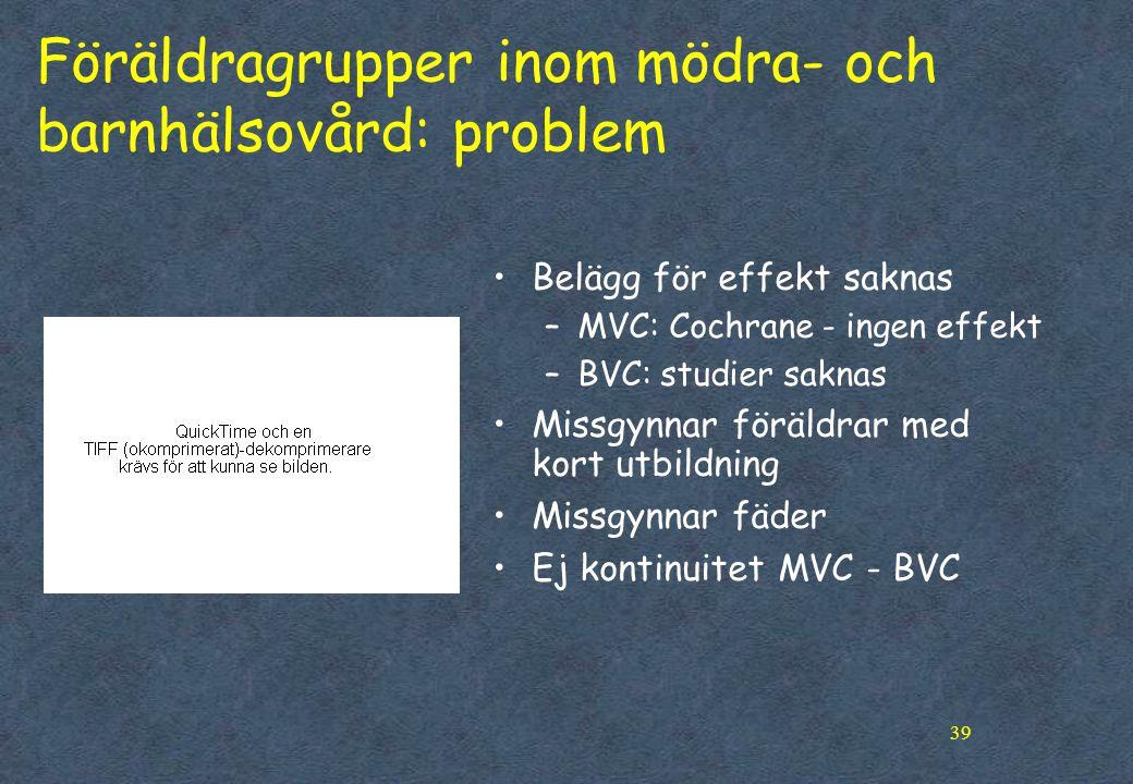 39 Föräldragrupper inom mödra- och barnhälsovård: problem •Belägg för effekt saknas –MVC: Cochrane - ingen effekt –BVC: studier saknas •Missgynnar föräldrar med kort utbildning •Missgynnar fäder •Ej kontinuitet MVC - BVC
