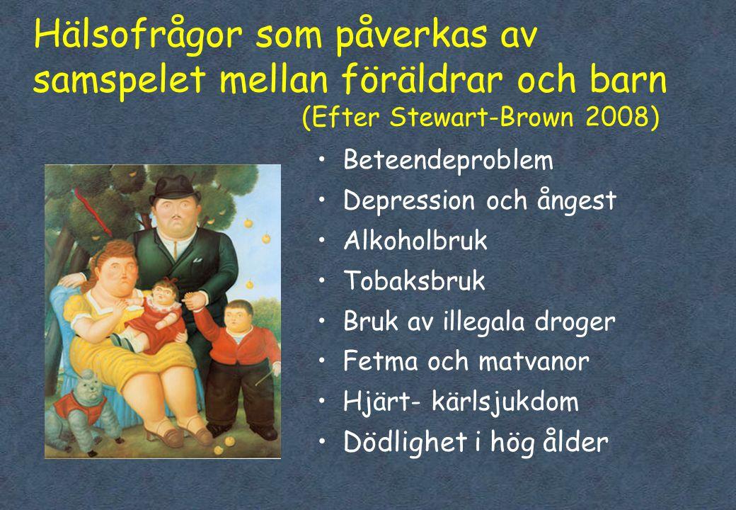 Hälsofrågor som påverkas av samspelet mellan föräldrar och barn (Efter Stewart-Brown 2008) •Beteendeproblem •Depression och ångest •Alkoholbruk •Tobaksbruk •Bruk av illegala droger •Fetma och matvanor •Hjärt- kärlsjukdom •Dödlighet i hög ålder