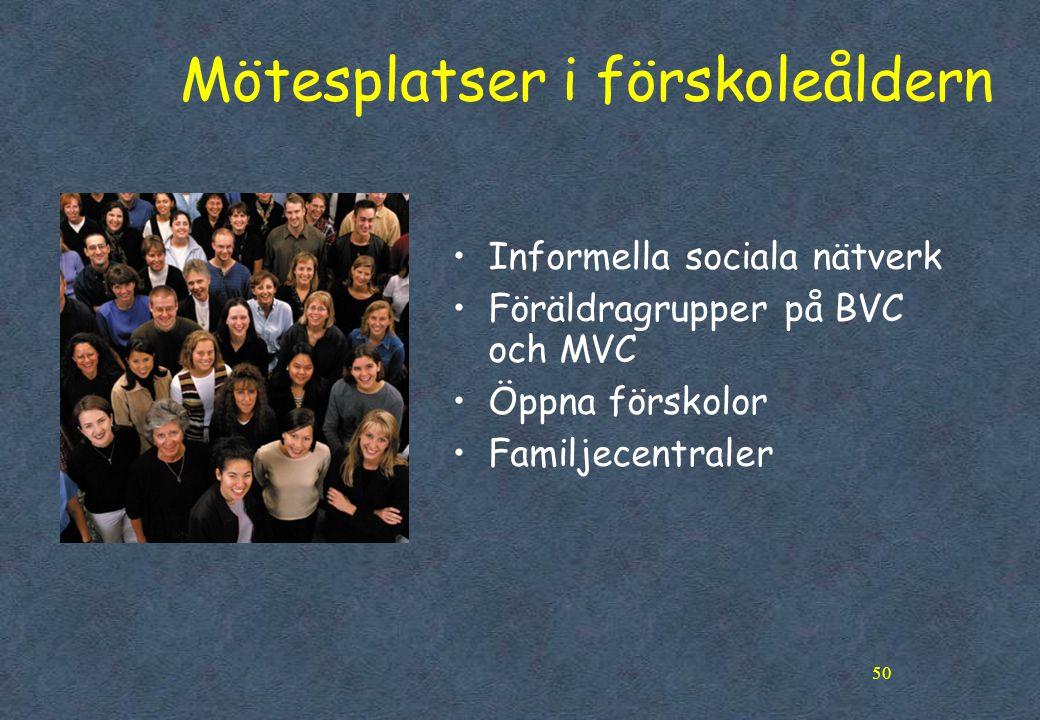 50 Mötesplatser i förskoleåldern •Informella sociala nätverk •Föräldragrupper på BVC och MVC •Öppna förskolor •Familjecentraler