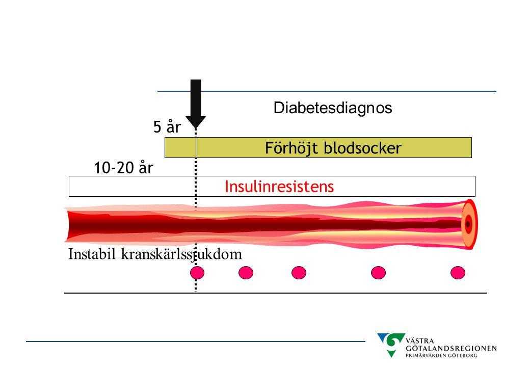 Förhöjt blodsocker 5 år Insulinresistens 10-20 år Instabil kranskärlssjukdom Diabetesdiagnos