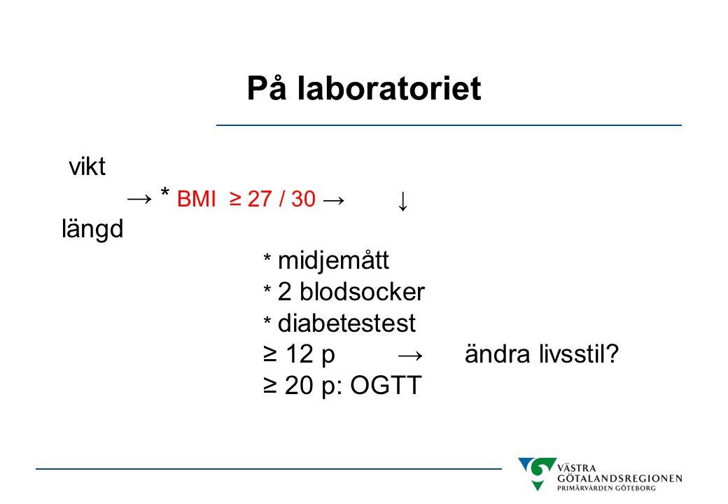 På laboratoriet vikt → * BMI ≥ 27 / 30 →↓ längd * midjemått * 2 blodsocker * diabetestest ≥ 12 p→ändra livsstil? ≥ 20 p: OGTT