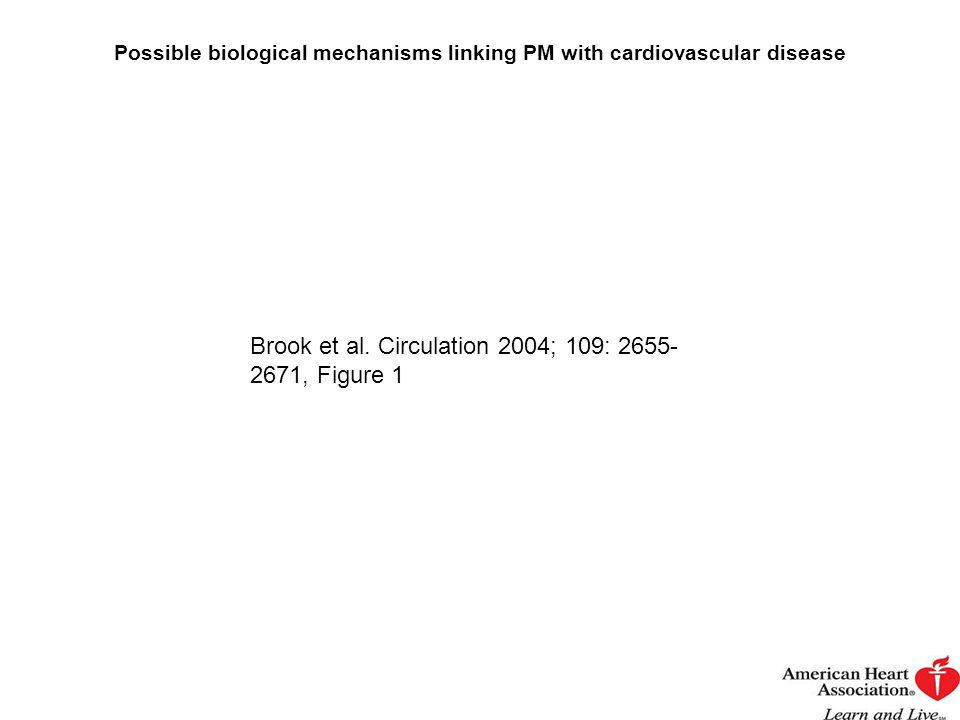 Possible biological mechanisms linking PM with cardiovascular disease Brook et al. Circulation 2004; 109: 2655- 2671, Figure 1