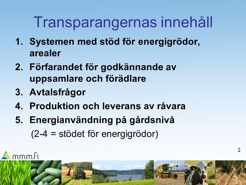 2 Transparangernas innehåll 1.Systemen med stöd för energigrödor, arealer 2.Förfarandet för godkännande av uppsamlare och förädlare 3.Avtalsfrågor 4.Produktion och leverans av råvara 5.Energianvändning på gårdsnivå (2-4 = stödet för energigrödor)