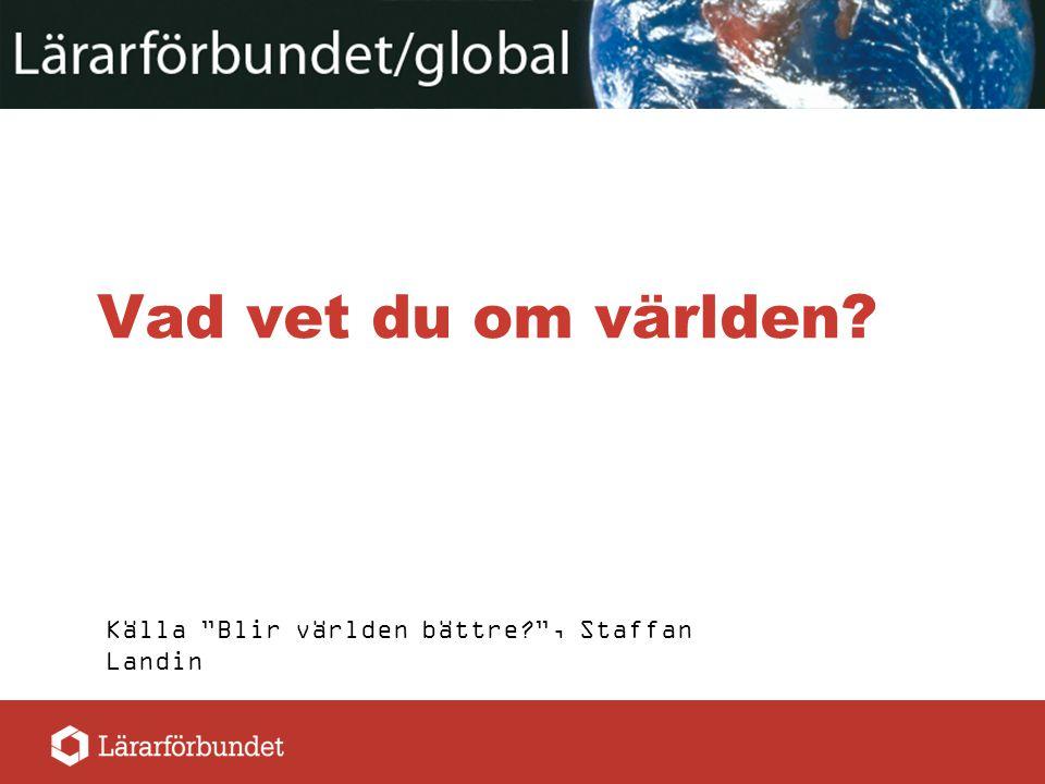 """Vad vet du om världen? Källa """"Blir världen bättre?"""", Staffan Landin"""