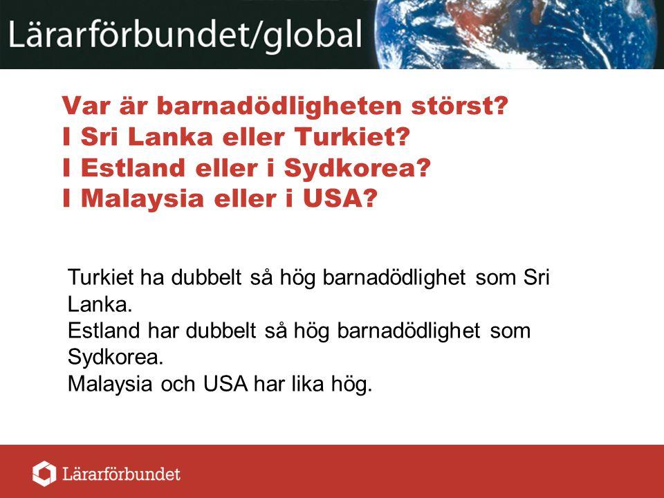 Var är barnadödligheten störst? I Sri Lanka eller Turkiet? I Estland eller i Sydkorea? I Malaysia eller i USA? Turkiet ha dubbelt så hög barnadödlighe