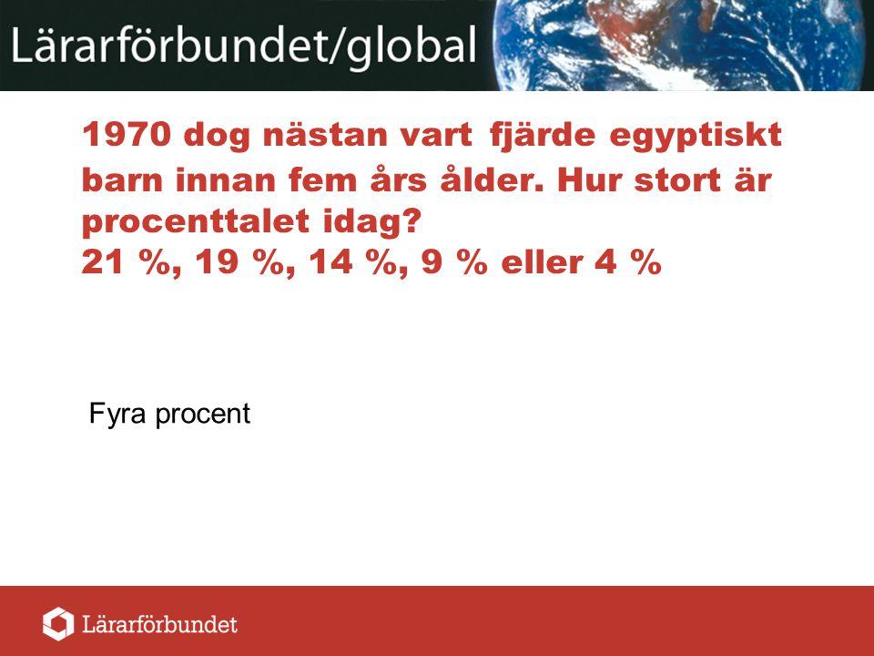 1970 dog nästan vart fjärde egyptiskt barn innan fem års ålder. Hur stort är procenttalet idag? 21 %, 19 %, 14 %, 9 % eller 4 % Fyra procent