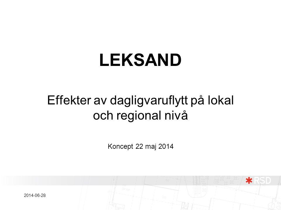LEKSAND Effekter av dagligvaruflytt på lokal och regional nivå Koncept 22 maj 2014 2014-06-28