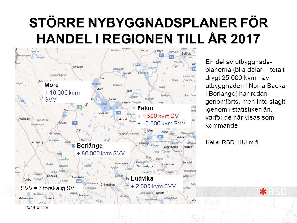 STÖRRE NYBYGGNADSPLANER FÖR HANDEL I REGIONEN TILL ÅR 2017 En del av utbyggnads- planerna (bl a delar - totalt drygt 25 000 kvm - av utbyggnaden i Nor
