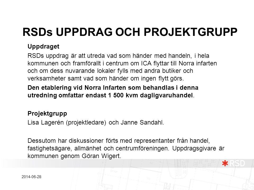 Uppdraget RSDs uppdrag är att utreda vad som händer med handeln, i hela kommunen och framförallt i centrum om ICA flyttar till Norra infarten och om d