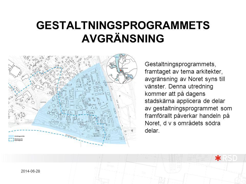 GESTALTNINGSPROGRAMMETS AVGRÄNSNING Gestaltningsprogrammets, framtaget av tema arkitekter, avgränsning av Noret syns till vänster. Denna utredning kom