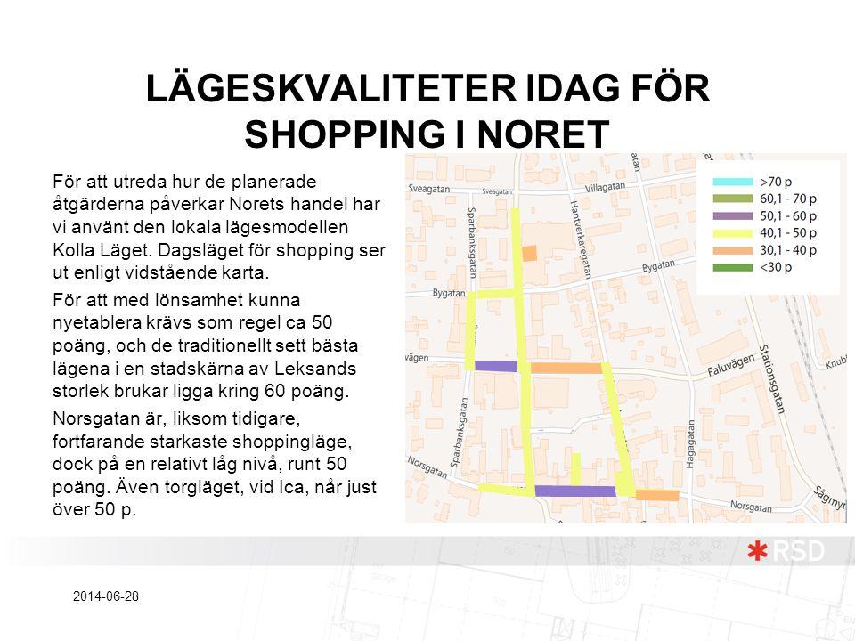 LÄGESKVALITETER IDAG FÖR SHOPPING I NORET För att utreda hur de planerade åtgärderna påverkar Norets handel har vi använt den lokala lägesmodellen Kol