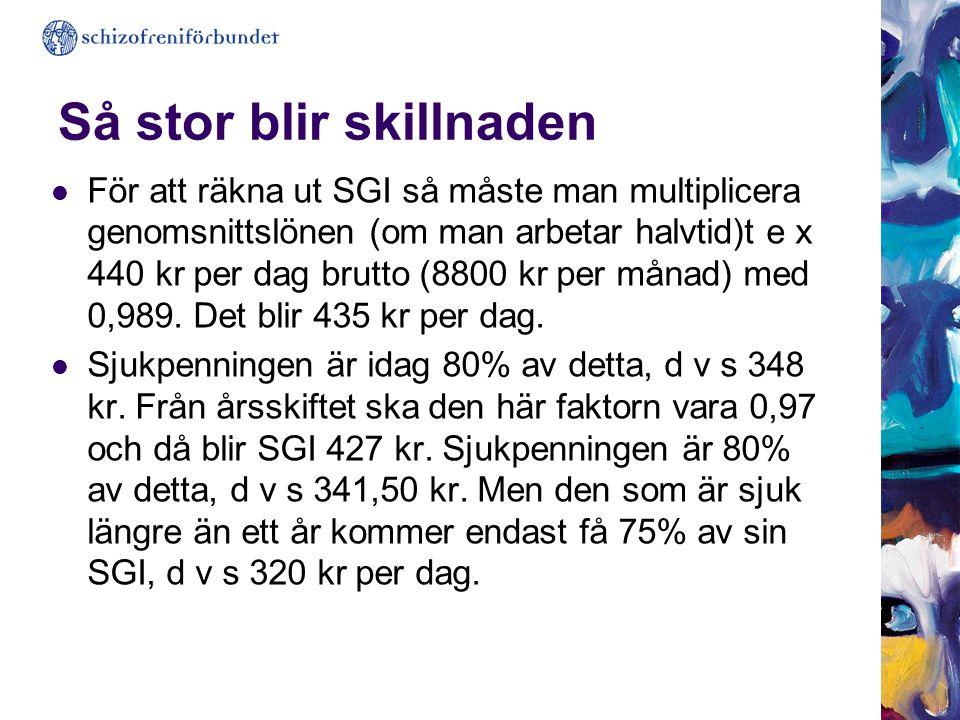 Så stor blir skillnaden  För att räkna ut SGI så måste man multiplicera genomsnittslönen (om man arbetar halvtid)t e x 440 kr per dag brutto (8800 kr