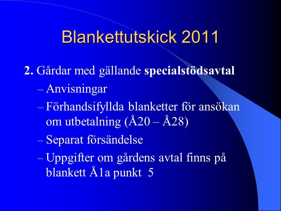 Blankettutskick 2011 2. Gårdar med gällande specialstödsavtal – Anvisningar – Förhandsifyllda blanketter för ansökan om utbetalning (Å20 – Å28) – Sepa