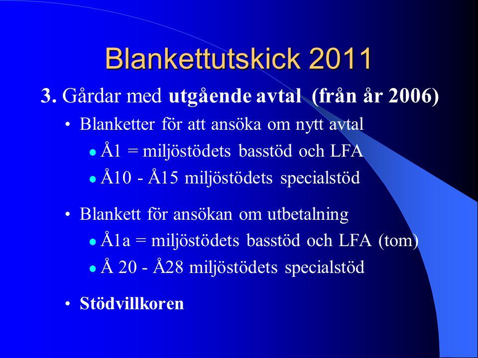 Blankettutskick 2011 3. Gårdar med utgående avtal (från år 2006) • Blanketter för att ansöka om nytt avtal  Å1 = miljöstödets basstöd och LFA  Å10 -