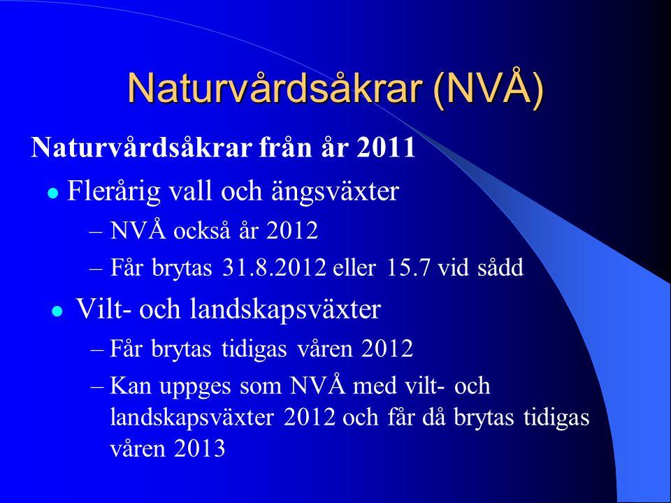Naturvårdsåkrar (NVÅ) Naturvårdsåkrar från år 2011  Flerårig vall och ängsväxter –NVÅ också år 2012 –Får brytas 31.8.2012 eller 15.7 vid sådd  Vilt-