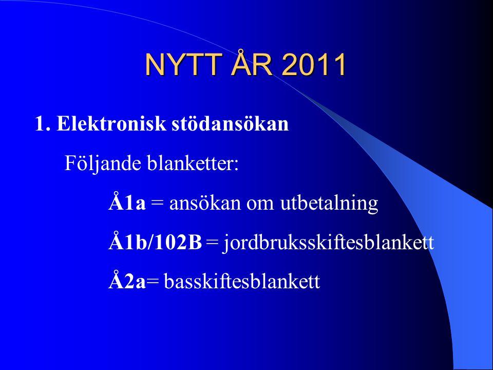NYTT ÅR 2011 1. Elektronisk stödansökan Följande blanketter: Å1a = ansökan om utbetalning Å1b/102B = jordbruksskiftesblankett Å2a= basskiftesblankett