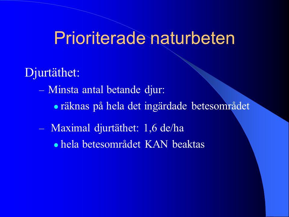 Prioriterade naturbeten Djurtäthet: – Minsta antal betande djur:  räknas på hela det ingärdade betesområdet – Maximal djurtäthet: 1,6 de/ha  hela be