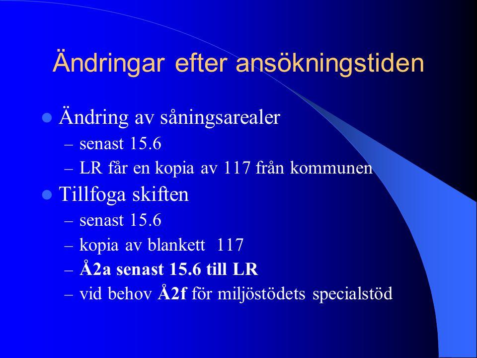 Ändringar efter ansökningstiden  Ändring av såningsarealer – senast 15.6 – LR får en kopia av 117 från kommunen  Tillfoga skiften – senast 15.6 – ko