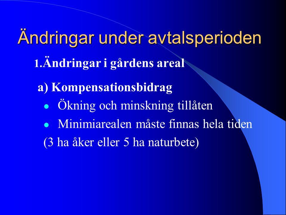 Ändringar under avtalsperioden 1. Ändringar i gårdens areal a) Kompensationsbidrag  Ökning och minskning tillåten  Minimiarealen måste finnas hela t