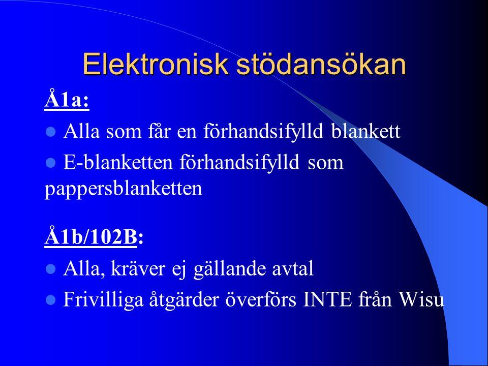 Elektronisk stödansökan Å2a:  E-blanketten förhandsifylld som pappersblanketten  Ändringar som meddelats till kommunen på 102C syns på e-blanketten  Alla som hade ett avtal år 2010