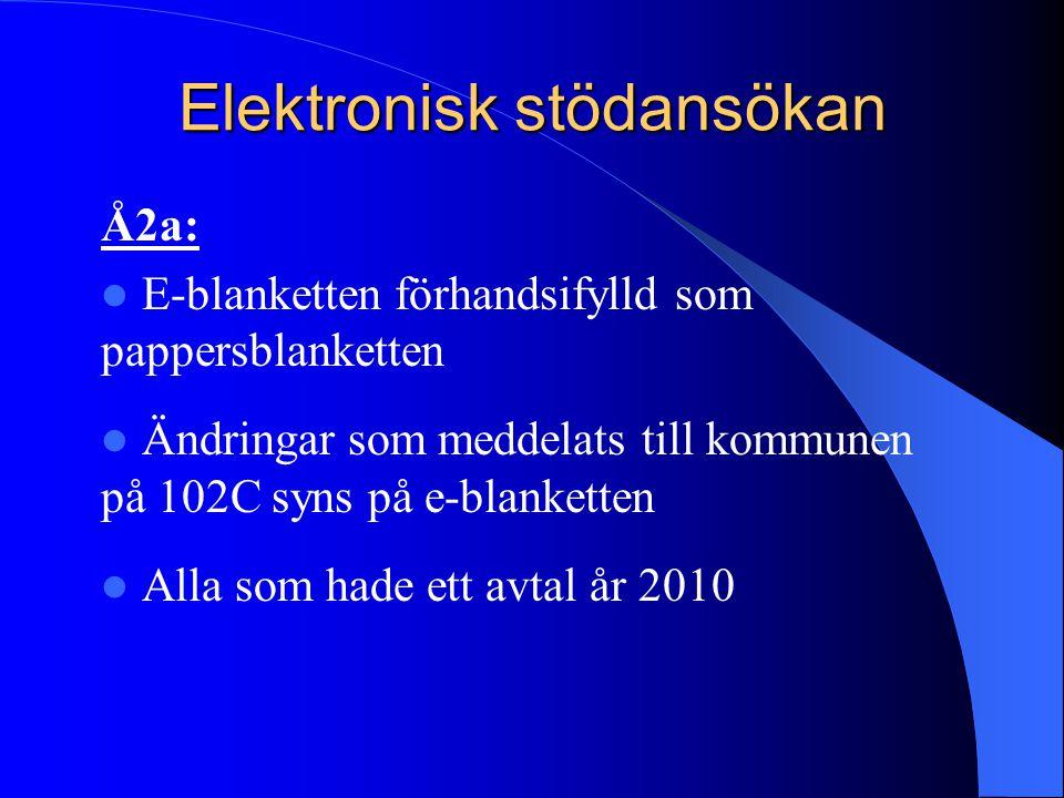 Elektronisk stödansökan Å2a:  E-blanketten förhandsifylld som pappersblanketten  Ändringar som meddelats till kommunen på 102C syns på e-blanketten