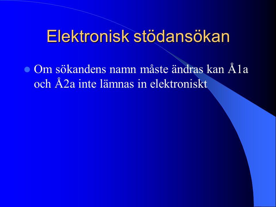 Elektronisk stödansökan  Om sökandens namn måste ändras kan Å1a och Å2a inte lämnas in elektroniskt