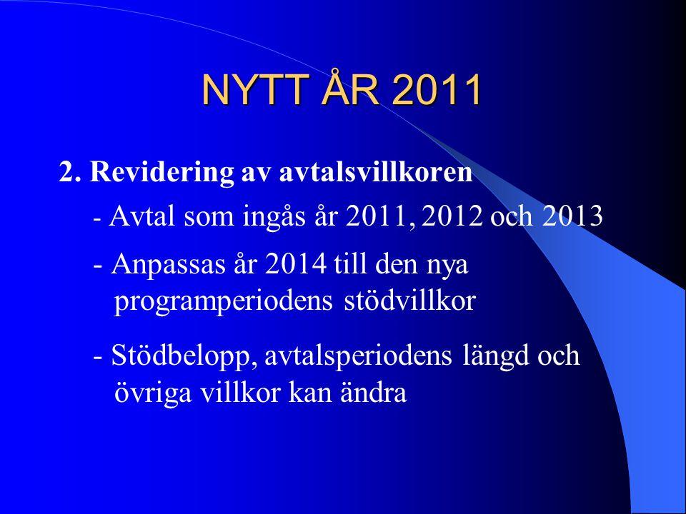 NYTT ÅR 2011 2. Revidering av avtalsvillkoren - Avtal som ingås år 2011, 2012 och 2013 - Anpassas år 2014 till den nya programperiodens stödvillkor -