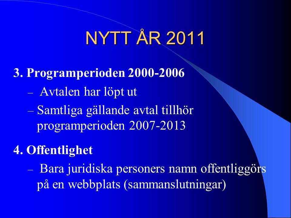 NYTT ÅR 2011 3. Programperioden 2000-2006 – Avtalen har löpt ut – Samtliga gällande avtal tillhör programperioden 2007-2013 4. Offentlighet – Bara jur