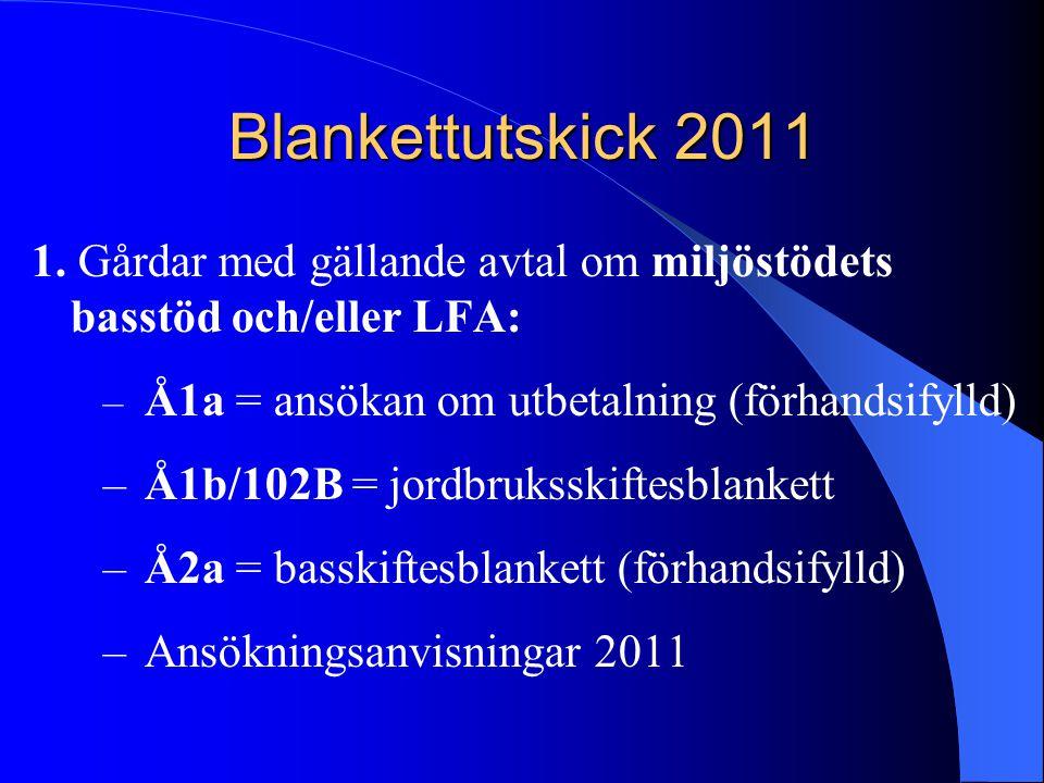 Blankettutskick 2011 1. Gårdar med gällande avtal om miljöstödets basstöd och/eller LFA: – Å1a = ansökan om utbetalning (förhandsifylld) –Å1b/102B = j