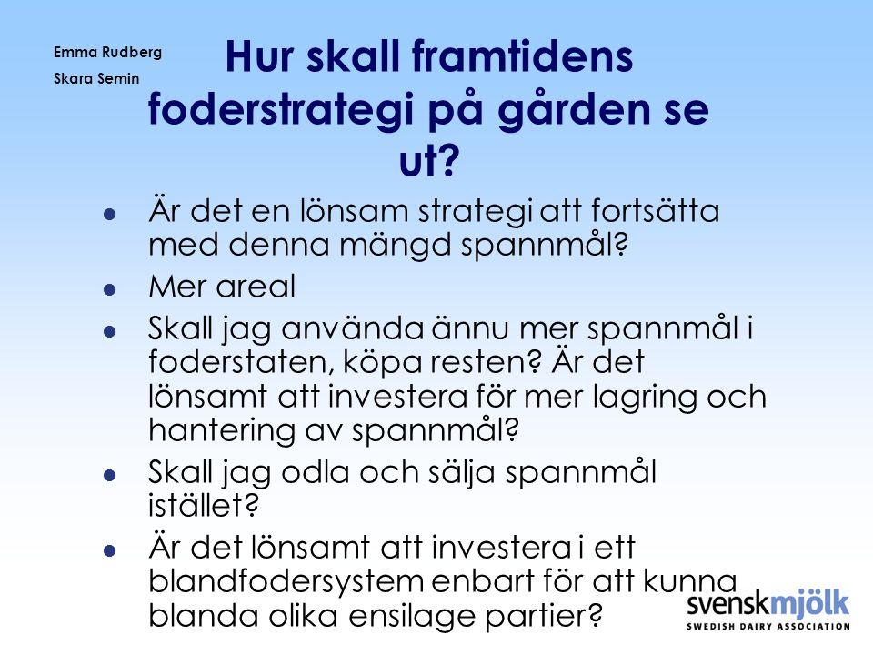 Emma Rudberg Skara Semin Hur skall framtidens foderstrategi på gården se ut?  Är det en lönsam strategi att fortsätta med denna mängd spannmål?  Mer