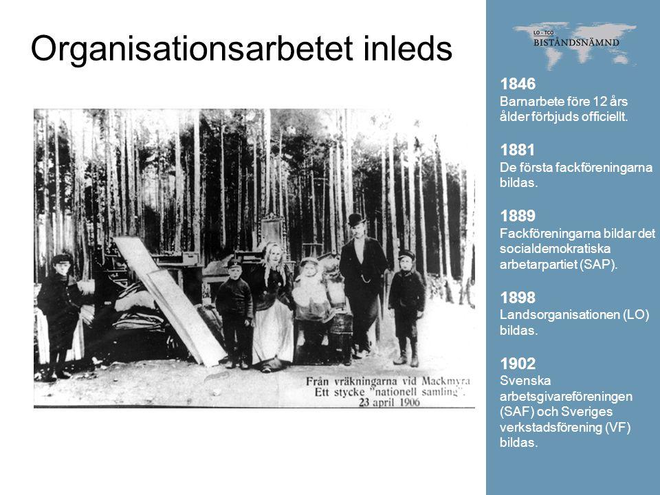 Organisationsarbetet inleds 1846 Barnarbete före 12 års ålder förbjuds officiellt. 1881 De första fackföreningarna bildas. 1889 Fackföreningarna bilda