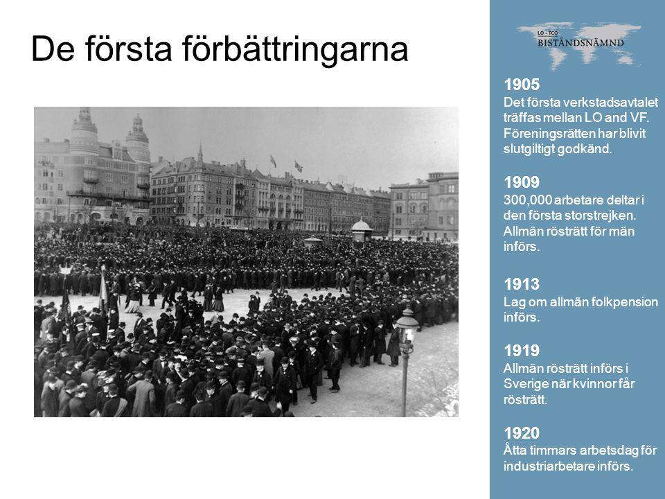 De första förbättringarna 1905 Det första verkstadsavtalet träffas mellan LO and VF. Föreningsrätten har blivit slutgiltigt godkänd. 1909 300,000 arbe