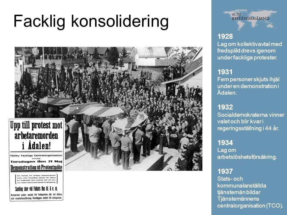 Facklig konsolidering 1928 Lag om kollektivavtal med fredsplikt drevs igenom under fackliga protester. 1931 Fem personer skjuts ihjäl under en demonst