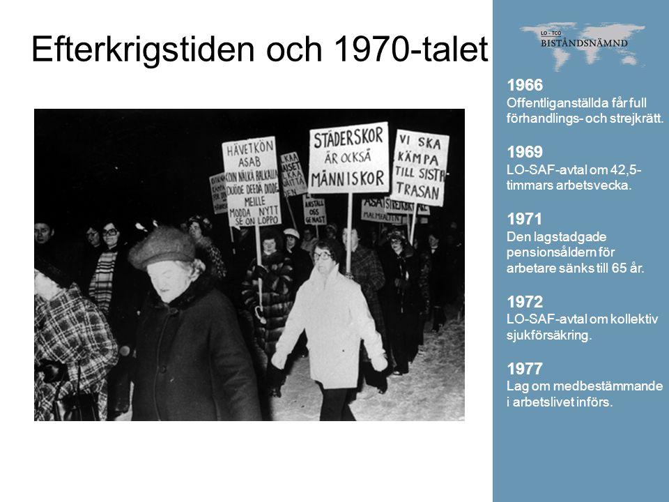 Efterkrigstiden och 1970-talet 1966 Offentliganställda får full förhandlings- och strejkrätt. 1969 LO-SAF-avtal om 42,5- timmars arbetsvecka. 1971 Den