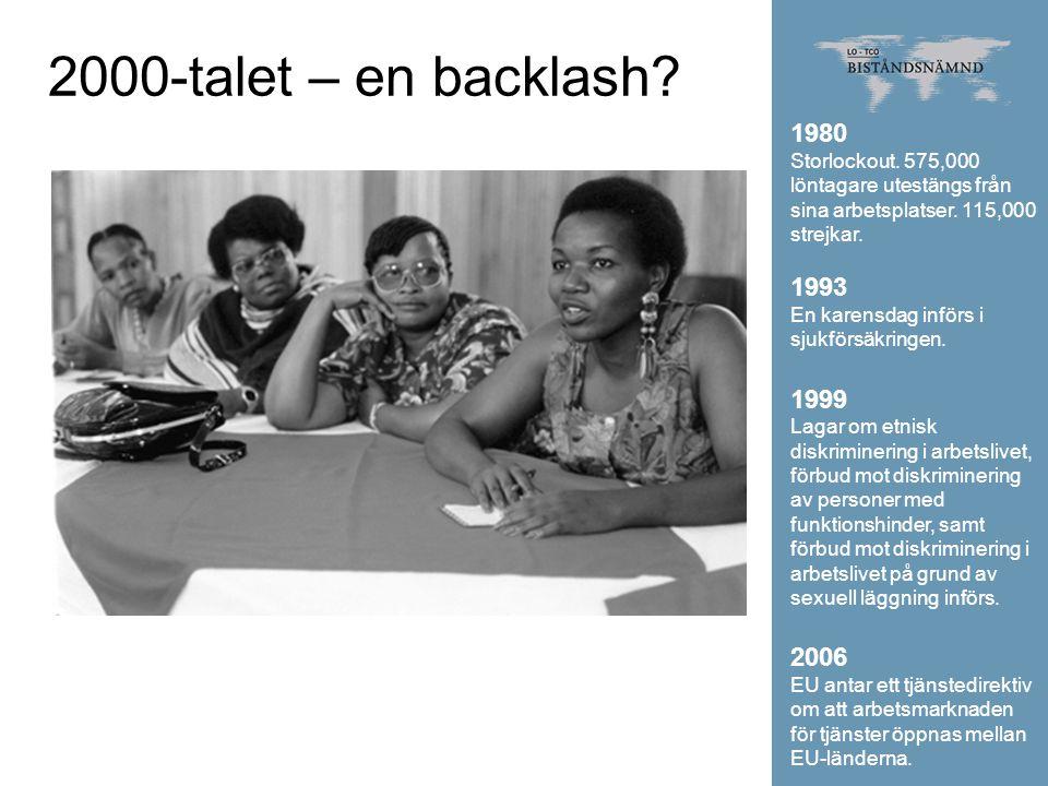 2000-talet – en backlash? 1980 Storlockout. 575,000 löntagare utestängs från sina arbetsplatser. 115,000 strejkar. 1993 En karensdag införs i sjukförs