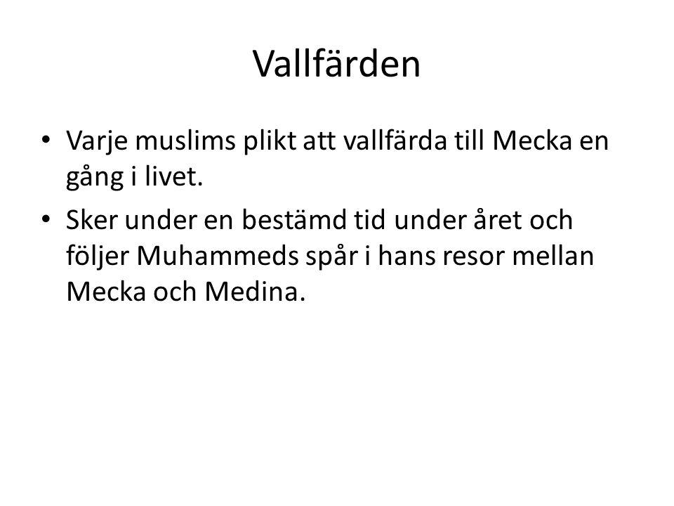Vallfärden • Varje muslims plikt att vallfärda till Mecka en gång i livet. • Sker under en bestämd tid under året och följer Muhammeds spår i hans res