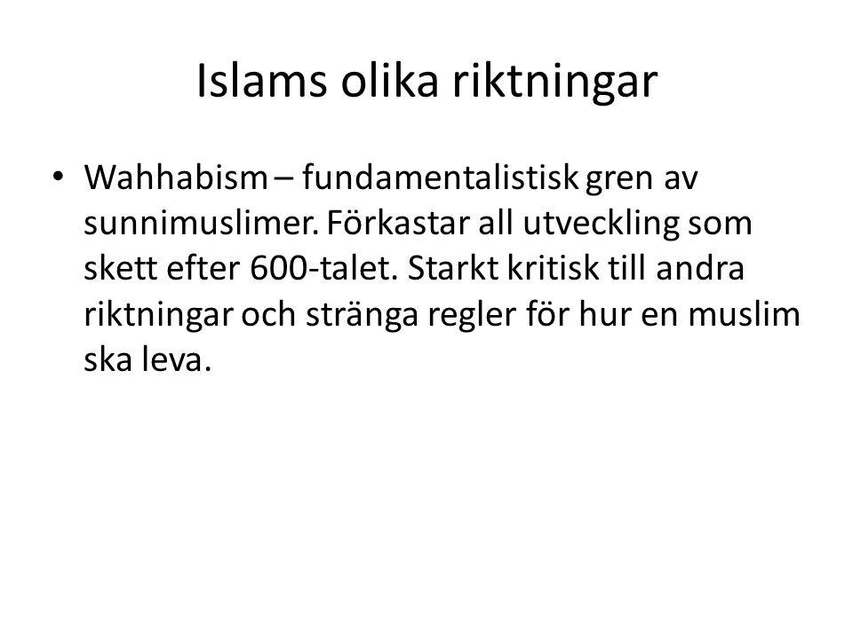 Islams olika riktningar • Wahhabism – fundamentalistisk gren av sunnimuslimer. Förkastar all utveckling som skett efter 600-talet. Starkt kritisk till