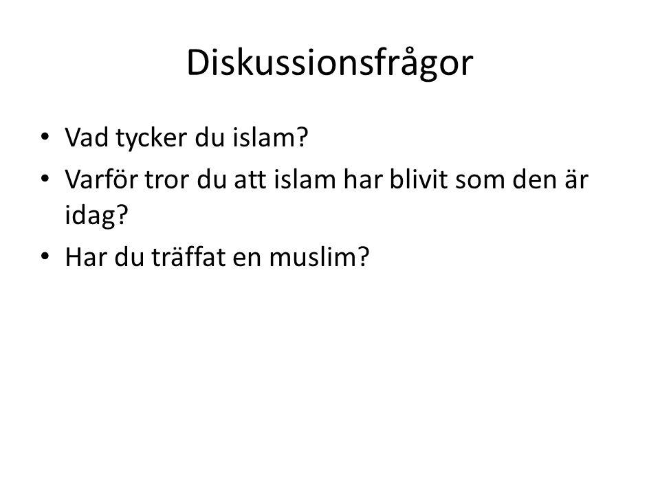 Diskussionsfrågor • Vad tycker du islam? • Varför tror du att islam har blivit som den är idag? • Har du träffat en muslim?