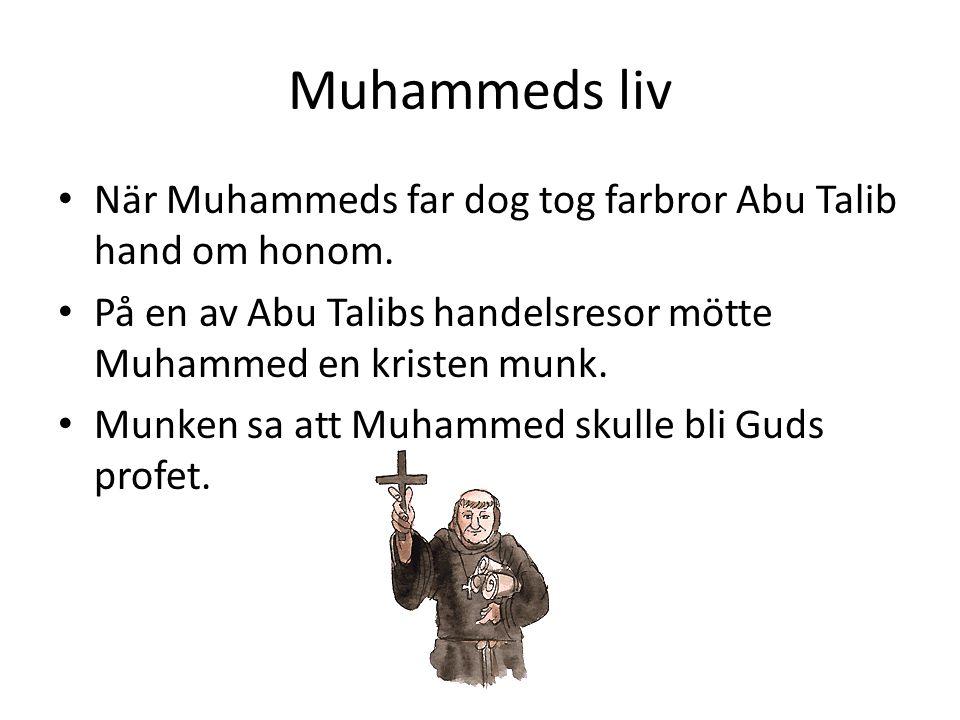 Muhammeds liv • När Muhammeds far dog tog farbror Abu Talib hand om honom. • På en av Abu Talibs handelsresor mötte Muhammed en kristen munk. • Munken