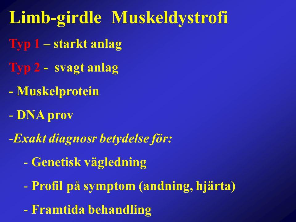Limb-girdle Muskeldystrofi Typ 1 – starkt anlag Typ 2 - svagt anlag - Muskelprotein - DNA prov -Exakt diagnosr betydelse för: - Genetisk vägledning -