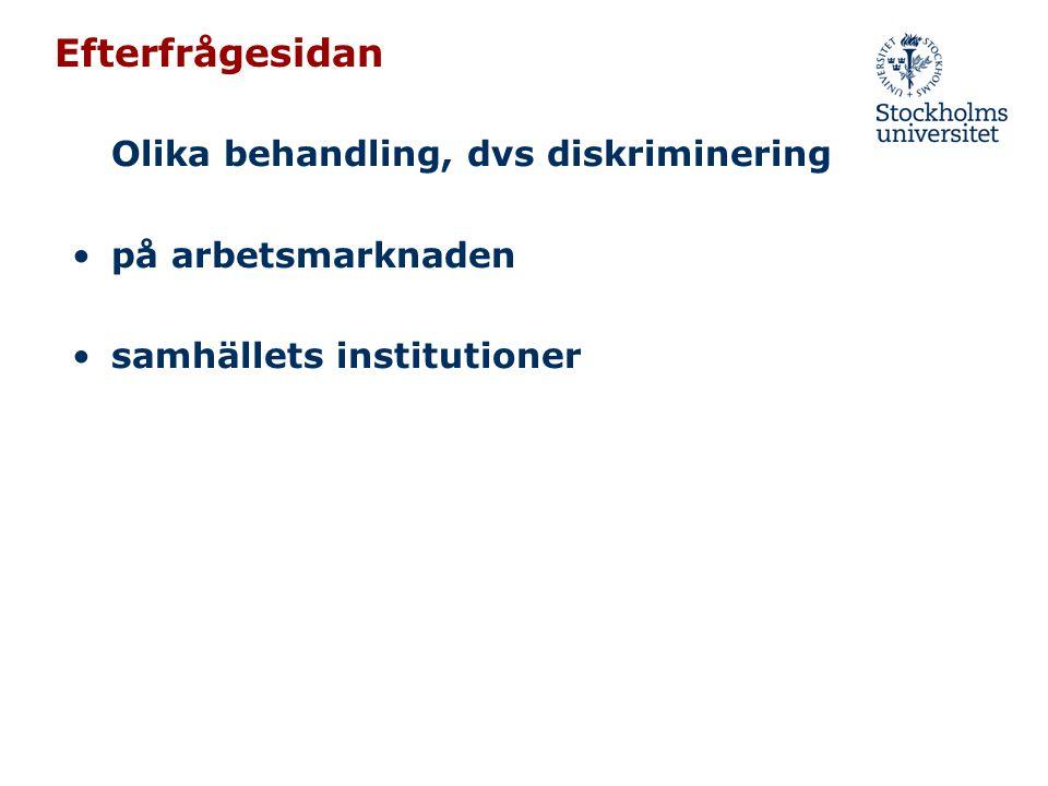 Efterfrågesidan Olika behandling, dvs diskriminering •på arbetsmarknaden •samhällets institutioner