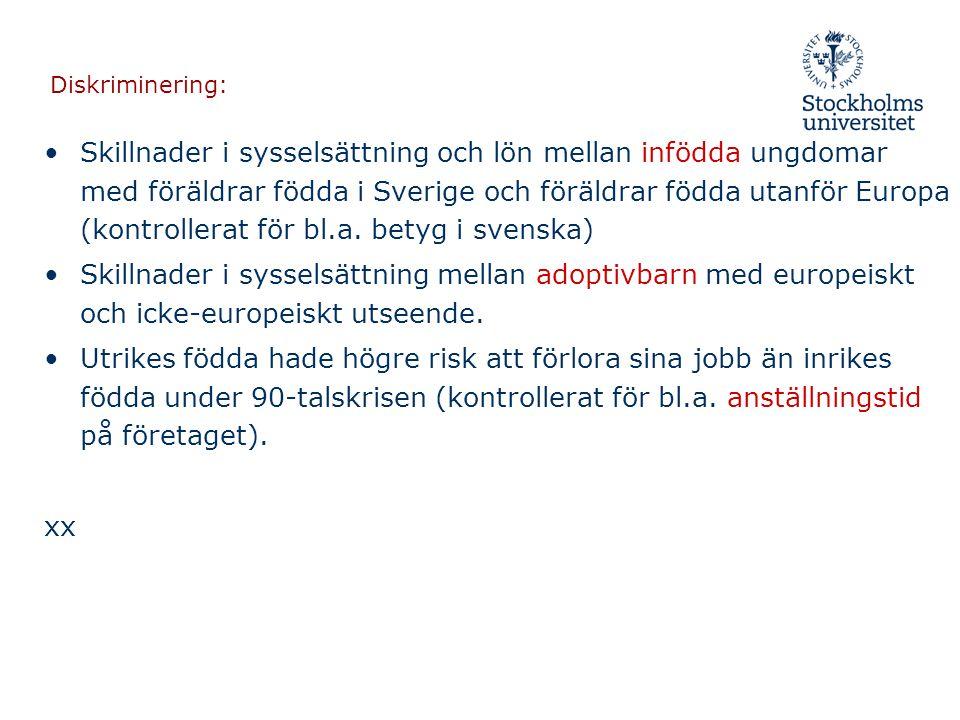 Diskriminering: •Skillnader i sysselsättning och lön mellan infödda ungdomar med föräldrar födda i Sverige och föräldrar födda utanför Europa (kontrol