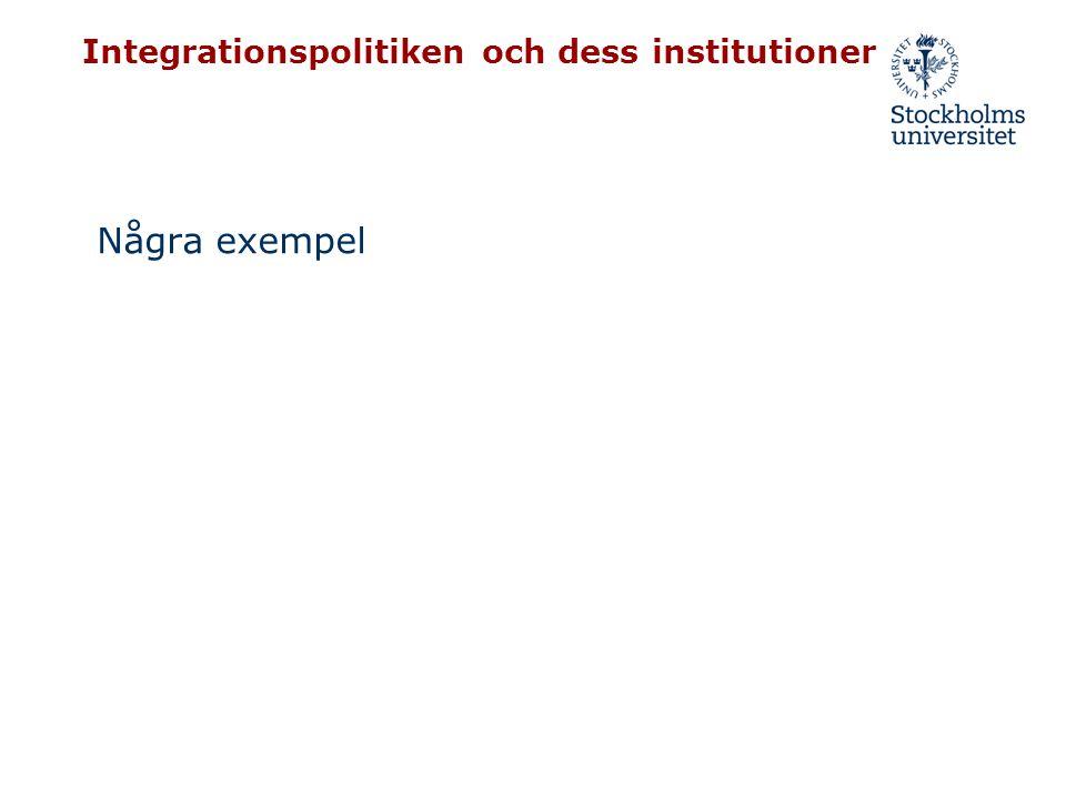 Integrationspolitiken och dess institutioner Några exempel