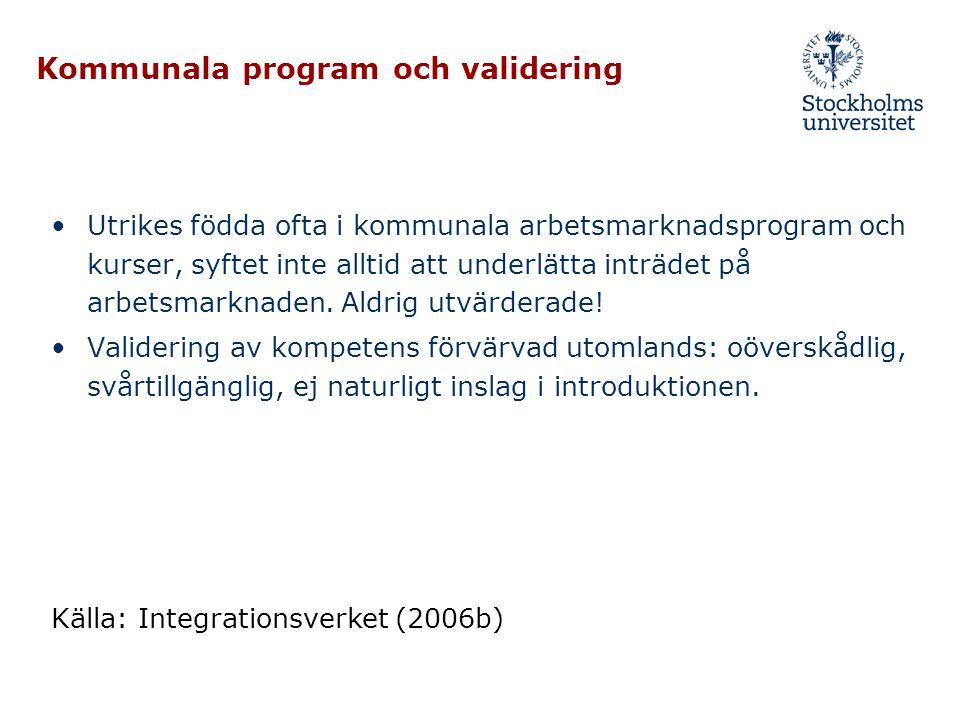 Kommunala program och validering •Utrikes födda ofta i kommunala arbetsmarknadsprogram och kurser, syftet inte alltid att underlätta inträdet på arbet