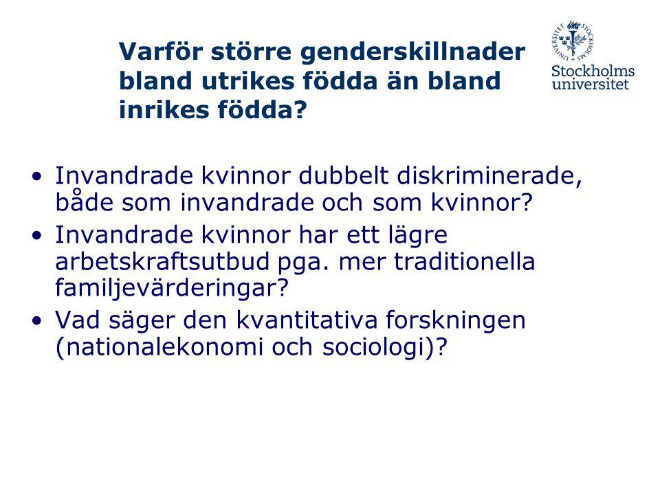 Varför större genderskillnader bland utrikes födda än bland inrikes födda? •Invandrade kvinnor dubbelt diskriminerade, både som invandrade och som kvi