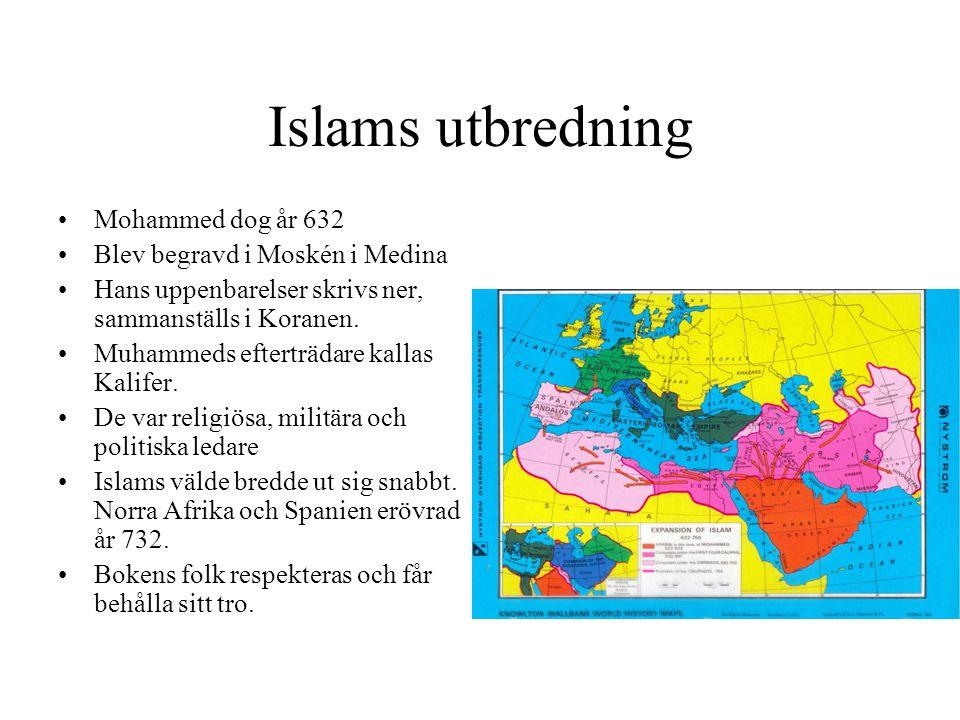 Islams utbredning •Mohammed dog år 632 •Blev begravd i Moskén i Medina •Hans uppenbarelser skrivs ner, sammanställs i Koranen. •Muhammeds efterträdare