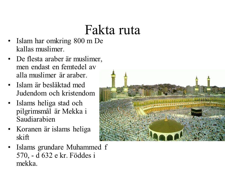 Fakta ruta •Islam har omkring 800 m De kallas muslimer. •De flesta araber är muslimer, men endast en femtedel av alla muslimer är araber. •Islam är be
