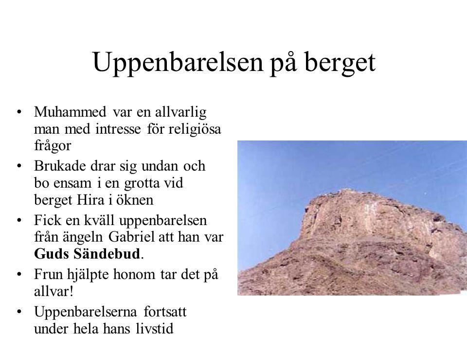 Uppenbarelsen på berget •Muhammed var en allvarlig man med intresse för religiösa frågor •Brukade drar sig undan och bo ensam i en grotta vid berget Hira i öknen •Fick en kväll uppenbarelsen från ängeln Gabriel att han var Guds Sändebud.